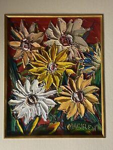 Evan Mackley Oil On Board Flowers Painting. Framed.