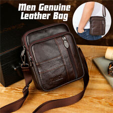 Mens Women Genuine Leather Business Briefcase Travel Shoulder Bags