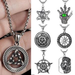 Stainless Steel Men Viking Skeleton Pentagram Celtic Rune Norse Pendant Necklace