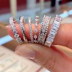 Fashion 6 Styles  Silver Women Rings Cubic Zirconia Wedding Jewelry Sz 6-10