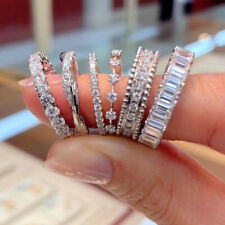 Fashion 6 Styles 925 Silver Women Rings Cubic Zirconia Wedding Jewelry Sz 6-10