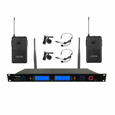 Audio UHF Wireless Microphone System 200 Channel 2 Lavalier Lapel Headset Studio