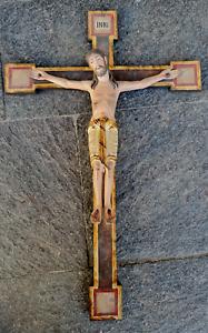 Antikes Holzgeschnitztes Kruzifix Kreuz Romanisch