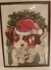 Punch Studio 15 Christmas Holiday Greeting Cards Puppy Dog Die Cut 3D Vintage Ds