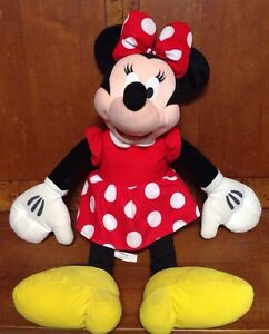 """Disney's Minnie Mouse Red Dress With White Dots and Yellow Shoes Plush 30"""""""