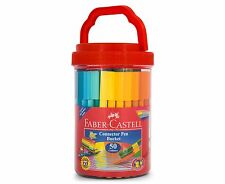 Faber-Castell Connector Pen Bucket Set of 50 Colours Markers + 10 Bonus Clips