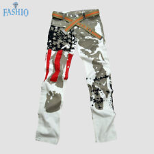 New Mens Casual Pants Fashion Stylish Slim Cotton US Flag Printed Pants Trousers