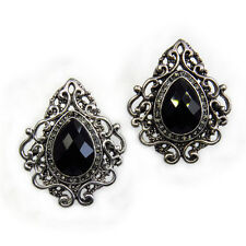 Classic Fashion VTG Design Stud Pierced Earrings Repro Jewelry Crystal Black New