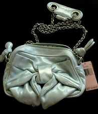 Juicy Couture Shiny Silver Sf Eggshm Bow Purse Mother's Day Prom YHRU2168 $198