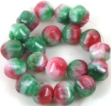 10mm Watermelon Candy Jade Carved Melon Round Beads (20)