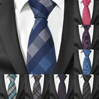 Formal Skinny Neck Ties For Men Suit Accessories Necktie Polyester Plaid Pattern