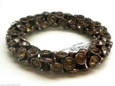 Fossil Brown Crystal Glam Stretch Bracelet Bronzetone New! NWT