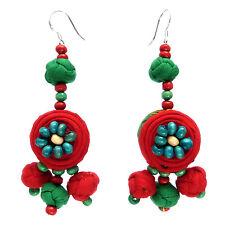 Boucles d'oreilles Femme Rouge Vertes Coton Perles Bois attache argent 925