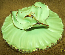 Unknown Serving dish lid, pastel green, flower on top, gold edges Excellent cond