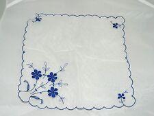 Azul Vintage Flor Bordada Translúcido Poliéster Pañuelo