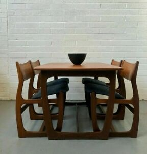 G-Plan Portwood Extending Dining Table and 4 Chairs - 1970s Solid Teak