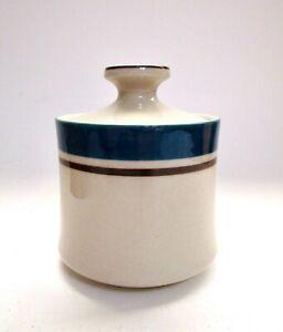 Vintage Carousel Stoneware Blue Japan Covered Sugar Bowl