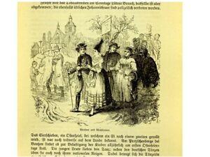 1 Orig. Holzschnitt aus Gebauer 1833  WENDEN UND WENDINNEN  ( SORBEN )
