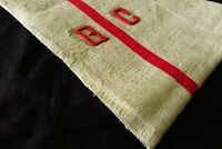 HUGE Antique French Chanvre Red Striped Linen Torchon Towel Mono GC c1920s