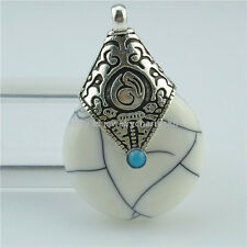2PCS Alloy Antique Tibet Silver Vintage White Resin Buddhism Pendant Jewelry