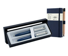 Sheaffer Sentinel Ballpoint Pen/Pencil Set -  Blue Nickel Trim with Notebook