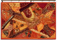 "60"" ORANGE STUNNING ART ETHNIC DÉCOR SARI BEAD SEQUIN LACE WALL HANGING TAPESTRY"