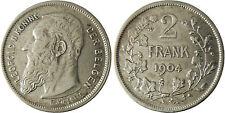 BELGIQUE  , LEOPOLD  II,  2  FRANK  ARGENT  DER  BELGEN  1904  ,  QUALITÉ