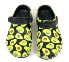 CROCS Avocado Clogs Size Mens 8 Womens 10 Black Green Slip Resistant Shoes