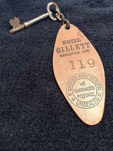 ANTIQUE HOTEL GILLETT MANHATTAN KANSAS Leather Room Key tag SKELETON KEY Orig