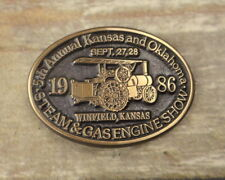 1986 Kansas Oklahoma Steam Gas Engine Show Belt Buckle Tractor Farm Winfield KS