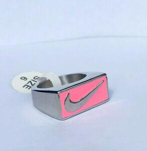 Unisex Nike Swoosh Tick Logo Silver and Pink Ring Titanium Steel UK Size N