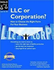 LLC OR CORPORATION HOW TO CHOOSE MANCUSO BUSINESS ECONOMICS FINANCE BOOK NICE