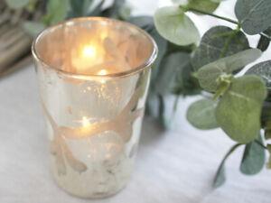 VINTAGE SILVER BUD GLASS ETCHED FLOWER TEA LIGHT CANDLE VOTIVE WEDDING CHRISTMAS