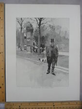 Rare Antique Original VTG Old Boulevard Paris L Marold Illustration Art Print