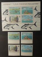 Kiribati 1981 tuna fishing 4 value set plus miniature sheet fish ships MNH