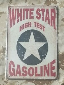 White Star High Test Gasoline Tin Sign Wall Décor Retro Style Garage Auto Shop