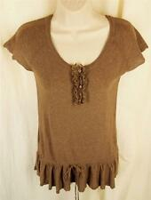 Anthropologie APHROISM Knit Top M Cocoa Scoop Neck Drawstring Tie Waist CUTE