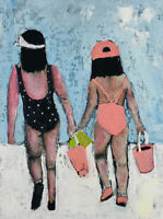 Summer Beach Figure Painting Wall Art by artist Katie Jeanne Wood