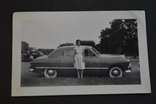 Vintage Car Photo Pretty Girl w/ 1949 Ford Free Shipping 885