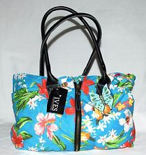 IVES Collection Hawaiian Flowered Blue Cotton Tote Bag w/ Plumeria Hibiscus NWT