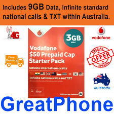 Vodafone $50 talk Combo Starter Sim Pack 9GB/Infinite standard national calls*Tx