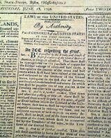 (4) President GEORGE WASHINGTON Proclamations w/ COPPER CENT Coin 1796 Newspaper