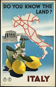Italy lemons Vintage old Travel Poster Print painting art for Glass Frame 900mm