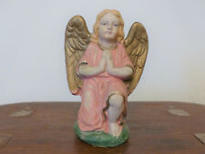"Antique Vintage German Kneeling Angel Pink Dress Nativity Christmas 5"" Figure #1"