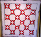 FINEST RED WHITE AND BLUE ANTIQUE QUILT SAWTOOTH CROWN PATRIOTIC 1880/1900