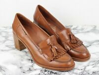 RUSSELL & BROMLEY CHESTER Tan Brown Leather Heeled Loafers, Size EU 40.5, UK 7.5