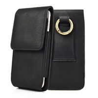 For iPhone X - VERTICAL BLACK Leather Pouch Holder Belt Clip Loop Holster Case