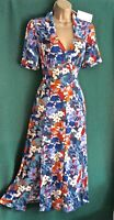 New MONSOON UK 8 10 12 BETTINA Blue Orange Floral Print Stretch Jersey Tea Dress