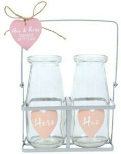 His & Hers Glass Milk Bottles in Crate Bud Vase Wedding or Engagement Gift