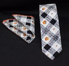 Tie Cravatta Con Fazzoletto Slim Bianco Nero Qualità Arancione Cotone MTB10